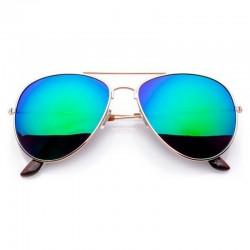 Okulary AVIATOR REVO lustrzanki zielone szkła - złota oprawka