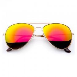 Okulary AVIATOR FLASH lustrzanki czerwone szkła - złota oprawka