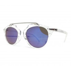Okulary przeciwsłoneczne damskie GLAM lustrzanki niebieskie