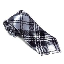Krawat imprezowy KRATKA SZARA śledź ze wzorem