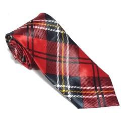 Krawat imprezowy KRATKA CZERWONA śledź ze wzorem