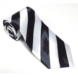 Krawat imprezowy PASY CZARNO-BIAŁE śledź ze wzorem
