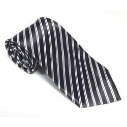 Krawat imprezowy PASKI CZARNE śledź ze wzorem
