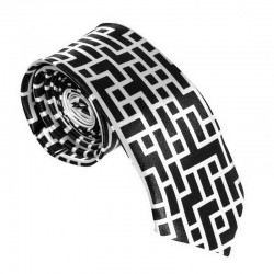 Krawat imprezowy LABIRYNT śledź ze wzorem