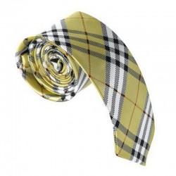 Krawat imprezowy KRATKA ZŁOTA śledź ze wzorem